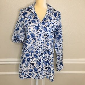 Lauren RL white blue floral collared button up